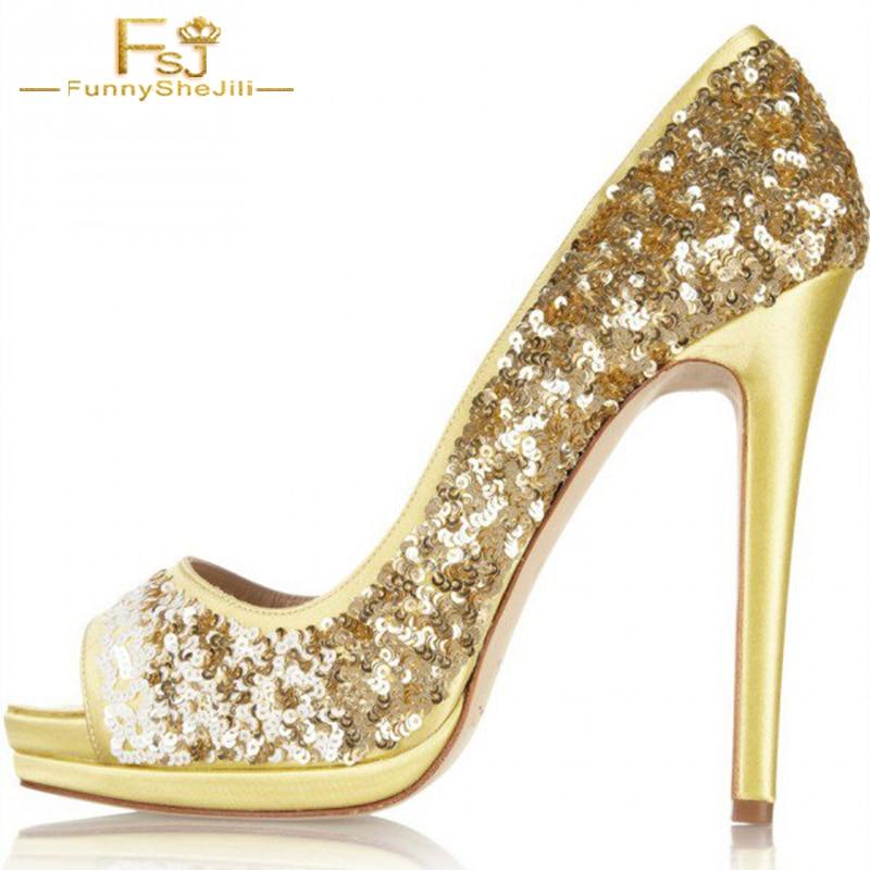 De D'or Stiletto La Pompes Femmes Dames Bal Taille Glitter Automne Talons Fsj01 Chaussures 11 13 12 Toe Peep Plus Printemps 2018 47qzY4w
