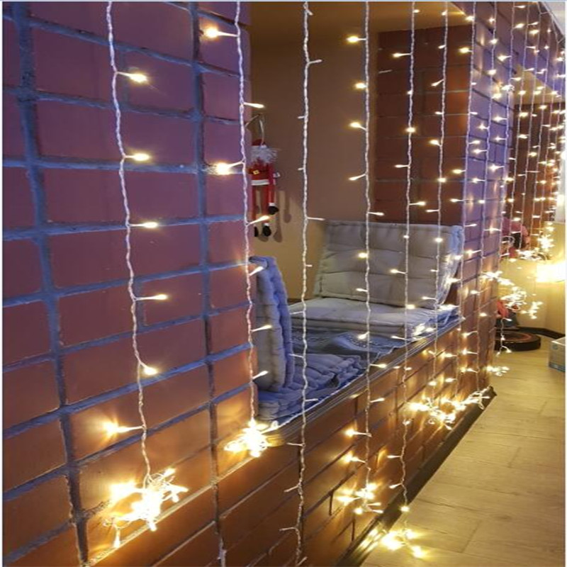 6x2.5 480LED Curtain  Lights LED Icicle String Lights Christmas Fairy Lights Garland Outdoor Home For Wedding/Party/Curtain/Gard