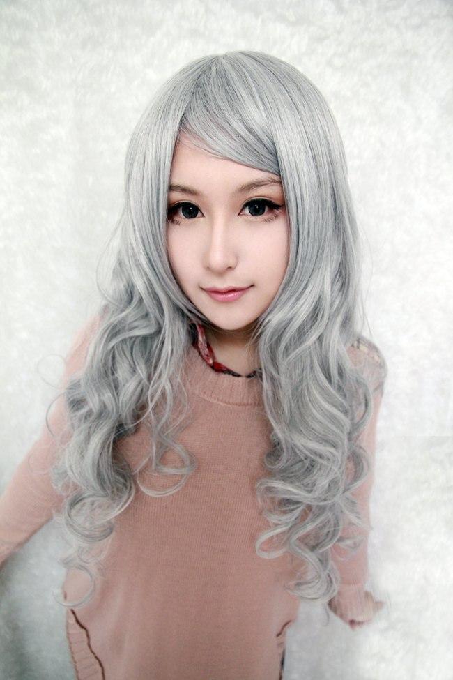 Silvery Gray Wig  Silvery Gray Cosplay Wig Long Angel Sanctuary-Rosiel Wavy Silvery Gray Wigs 90cm (34.4)  Costume Anime Wig