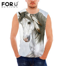 FORUDESIGNS Summer Fashion Men Tank Tops Cool 3D Animal Horse Head Pattern Top Tees for Man Casual Sleeveless O-neck Tee Shirts