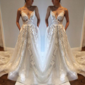 2017 Chic Appliques Open Back Dream Wedding Dress Ultra Floor Length Women Wedding Formal Gowns Modern Bridal Wedding Dress 2017