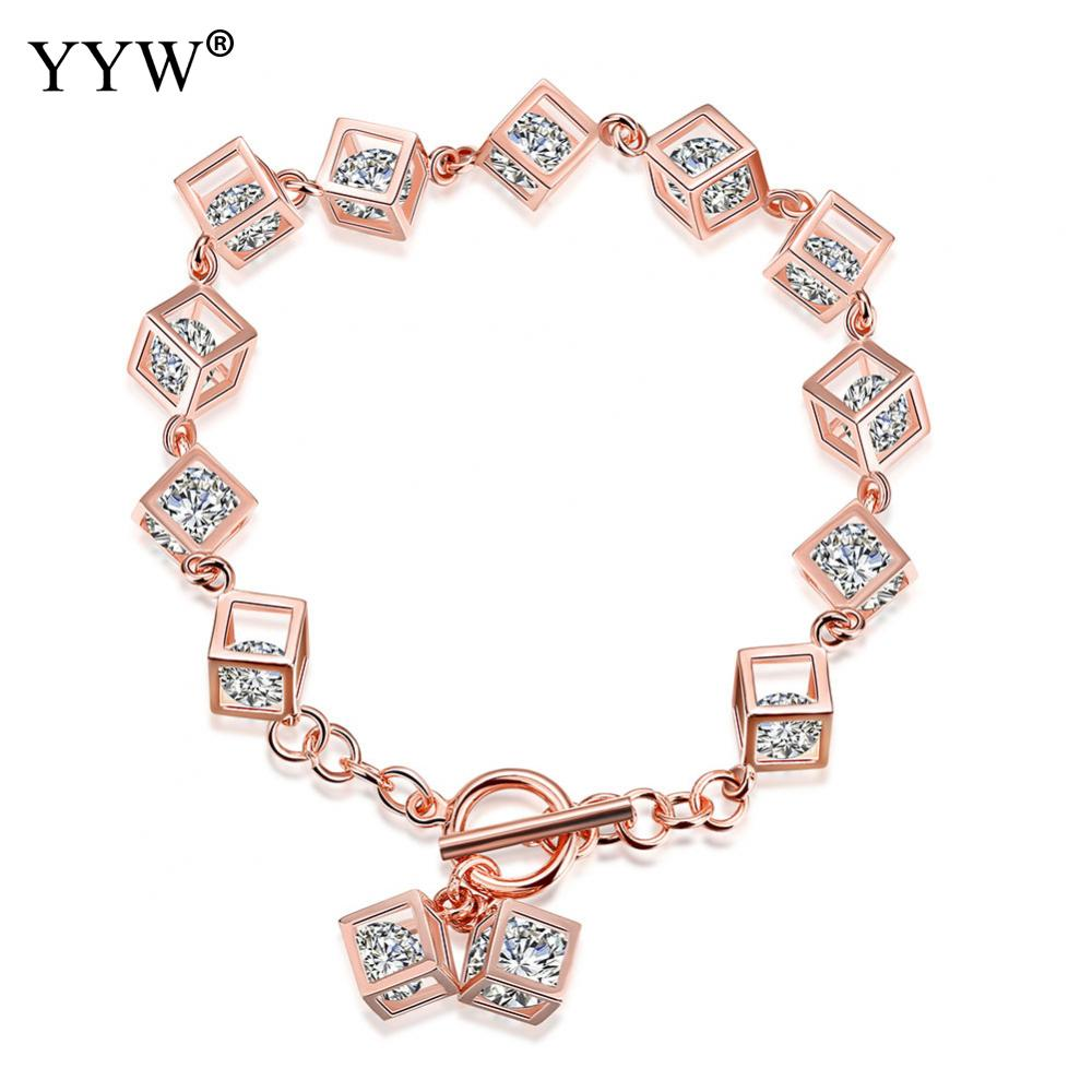 Luxury Rose Gold Color Chain Link Bracelet for Women Shining Cubic Zircon Box Charm Crystal Bracelet 925 Sterling Silver Jewelry elegant shining crystal alloy bracelet