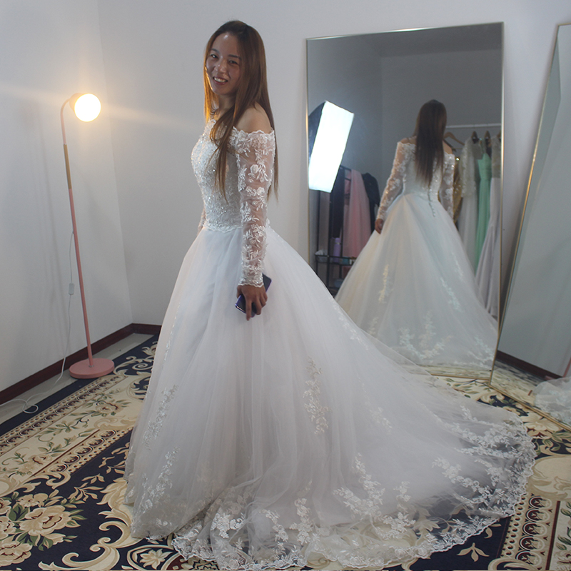 China Long Sleeves Wedding Dress Custom Made Lace Princess: HT019 Saprkly Custom Made Robe De Mariage Vestidos De