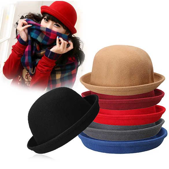 316a462d17d36 ... Vintage Women Men Woolen Roll Brim Bowler Hats Unisex Billycock Classic  -MX8 ...
