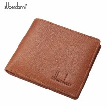 Genuine Leather  Short Wallets Men Ultra Thin Wallet Purse Vintage Solid Purses Mens Slim Card Bags High Quality Free Shipping