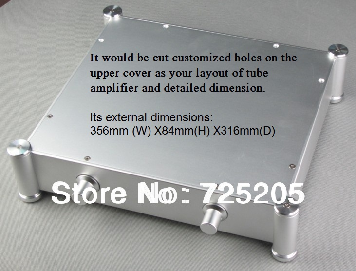 ФОТО Aluminum Casing of Tube Amplifier Sandblasting Silver Process HIFI DIY Cutting Holes on Upper Cover As Your Layout Dim Chasis