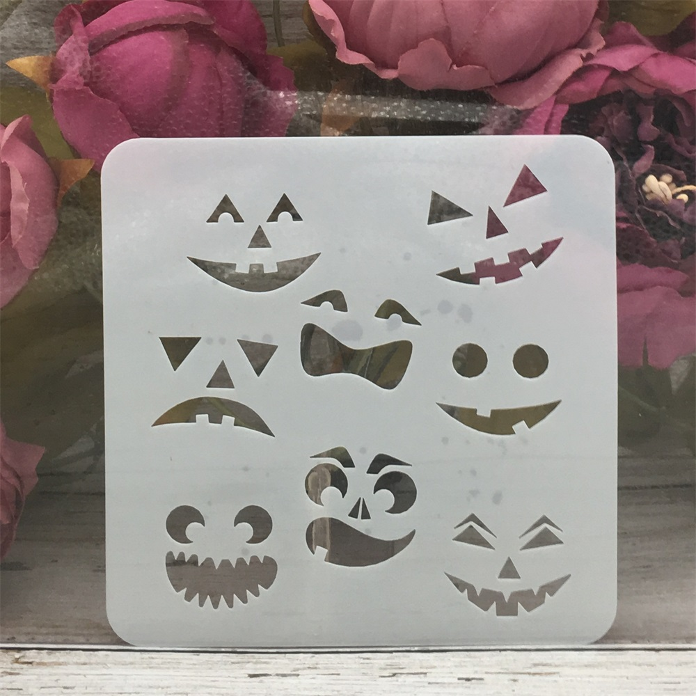 13*13cm Face Ghost Halloween DIY Layering Stencils Painting Scrapbook Coloring Embossing Album Decorative Template