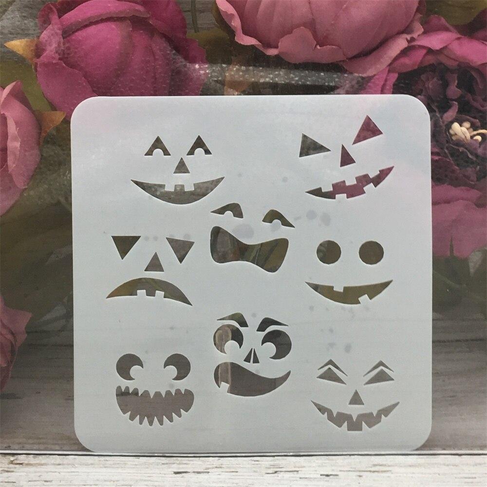 13*13cm Face Ghost Halloween DIY Layering Stencils Painting Scrapbook Coloring Embossing Album Decorative Template