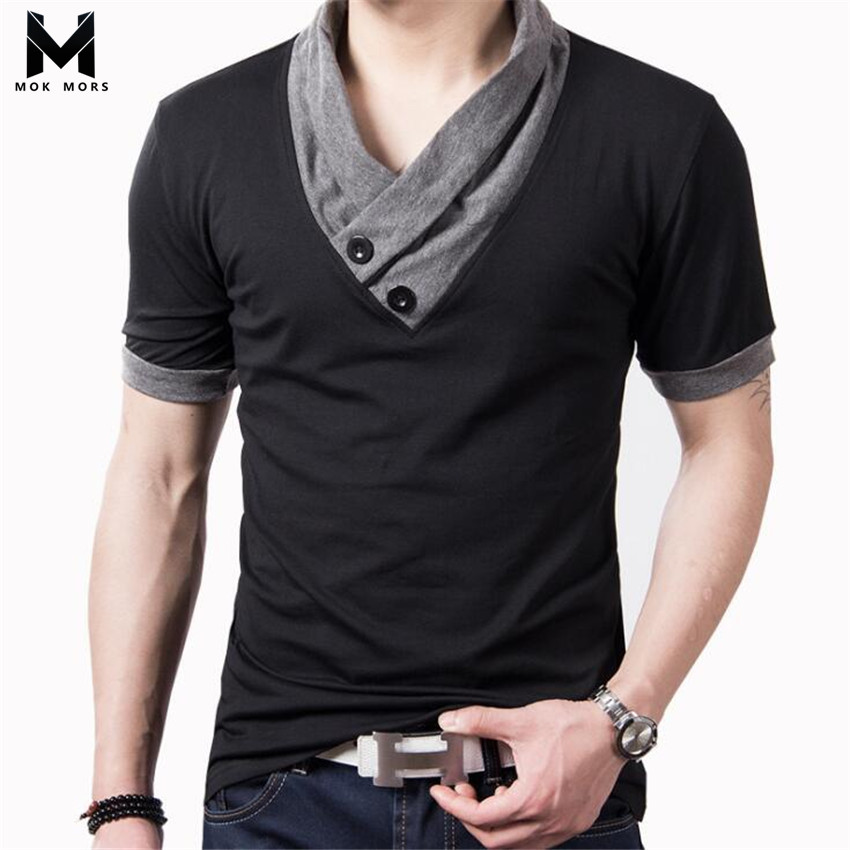 2018 Summer Men's New Casual Stitching V-neck Cotton Mens   Polo   Shirt Casual Joggers Sportswear Men   Polo   Shirt Short Sleeve