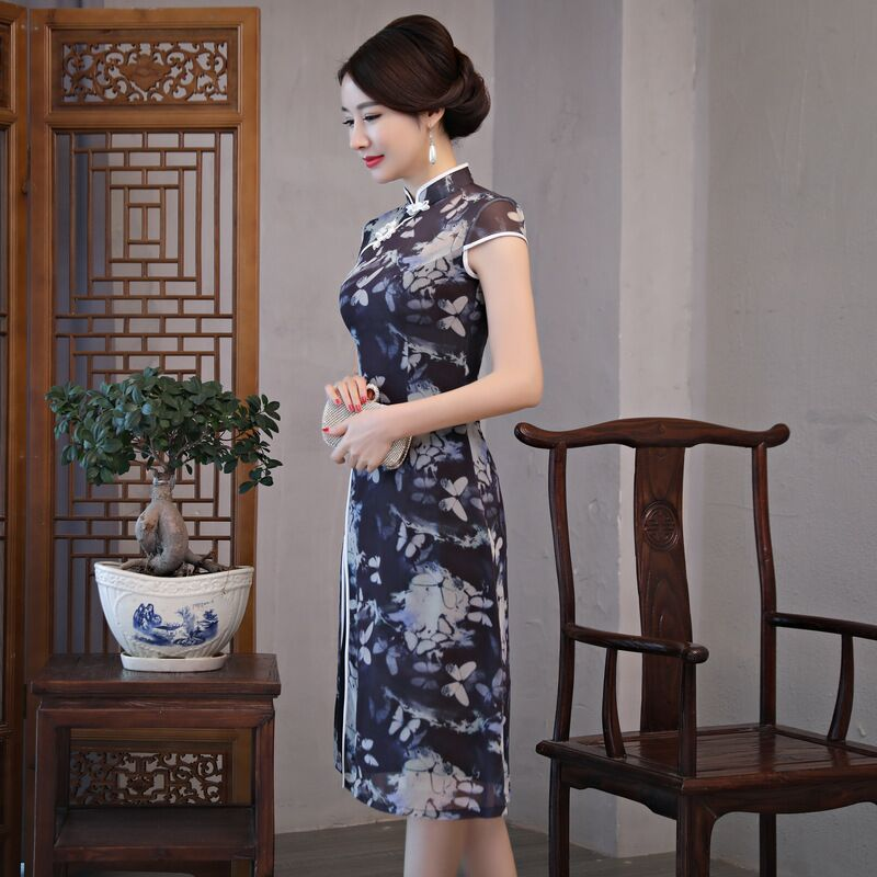 Mode chinois style genou Leng Cheongsam nouveauté femmes robe en mousseline de soie élégant Qipao Vestido taille S M L XL XXL XXXL 189685 - 5