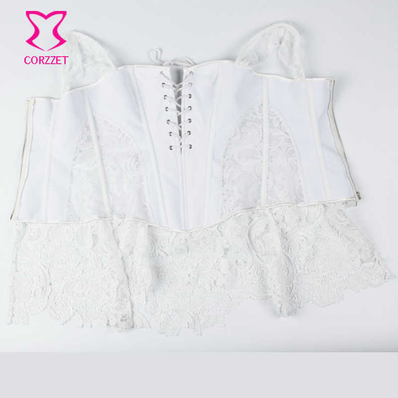9dcfa1282a ... XS-6XL White Brocade Hollow Out Lace Victorian Gothic Dresses Sexy  Short Corset Dress Plus ...