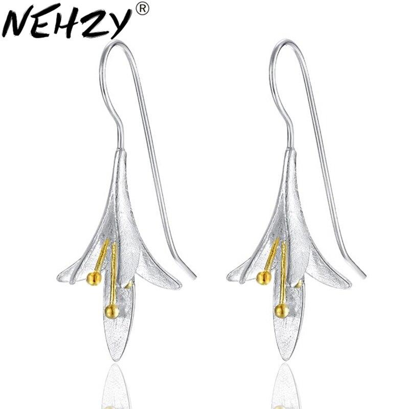 Nehzy 2017 милые женщины цветы ювелирные серебряные серьги ручной работы ремесел небольшой свежий минималистский Модные изысканный подарок