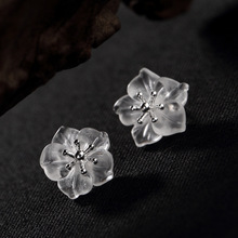 L&P Pure 925 Sterling Silver Plum Stud Earrings White Natural Crystal For Women Fine Jewelry Wholesale