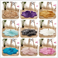 Faux Wool Carpet Flower Shape Fur Shaggy Carpets Artificial Wool Rug Bedroom Living Room Bay Window Soft Mat Thick Tapete