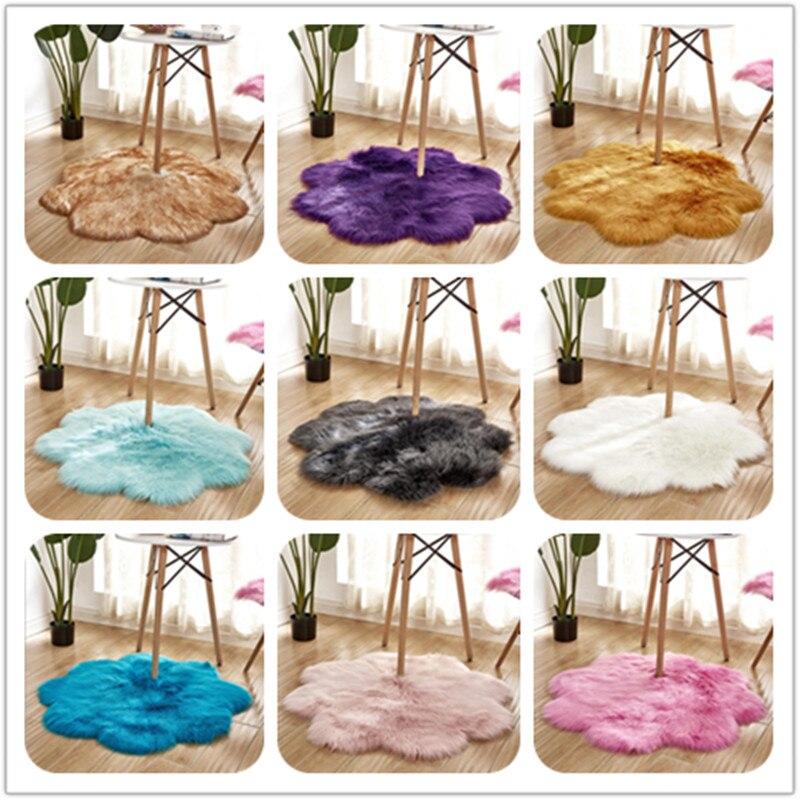 Faux laine tapis fleur forme fourrure Shaggy tapis laine artificielle tapis chambre salon baie fenetre tapis doux epais Tapete