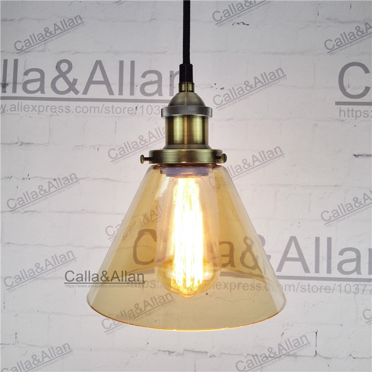 Light bulb Amber color glass restaurant pendant lamp vintage brass glass iron light fixture Amber glass bronze iron lighting brass cone shade pendant light edison bulb led vintage copper shade lighting fixture brass pendant lamp d240mm diameter ceiling