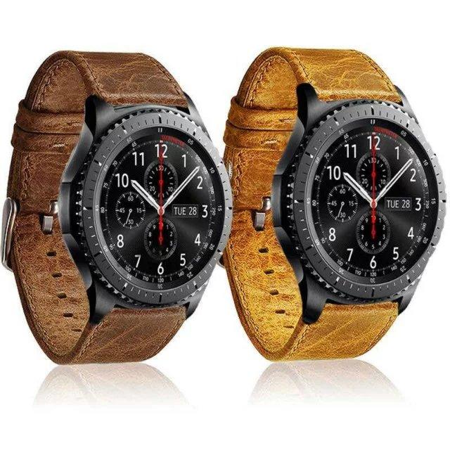 Prix pour Crazy-cheval Grain Véritable bracelet en cuir bracelet Bracelet pour Samsung Gear S3 Frontière/Classique Bande de Montre 22mm