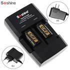Soshine Intelligent Rapid Fast Battery Charger for Li-FePO4 RC123 CR2 Battery + 2pcs 3V 400mAh CR2 LiFePO4 Rechargeable Battery