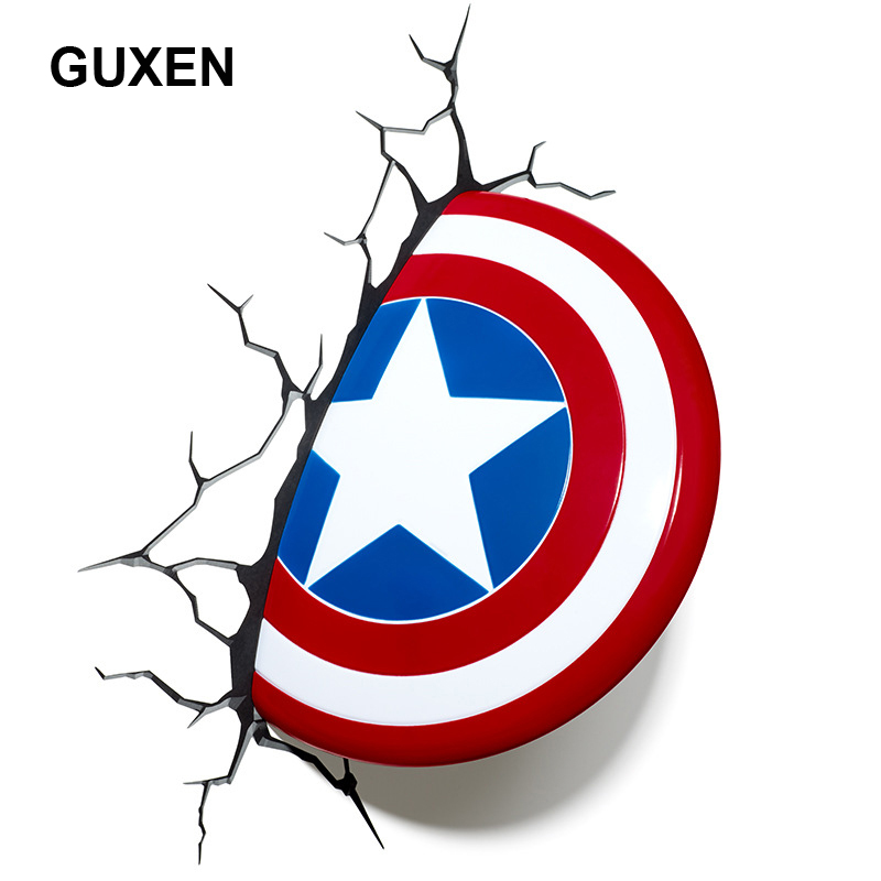 GUXEN 3D Marvel Captain America Shield Creative Sticker for kids bed lights iron lamp led lamp avengers wall lamp night lighting avengers alliance hot toys led captain america shield wall lamps 3d poster wall lamps home