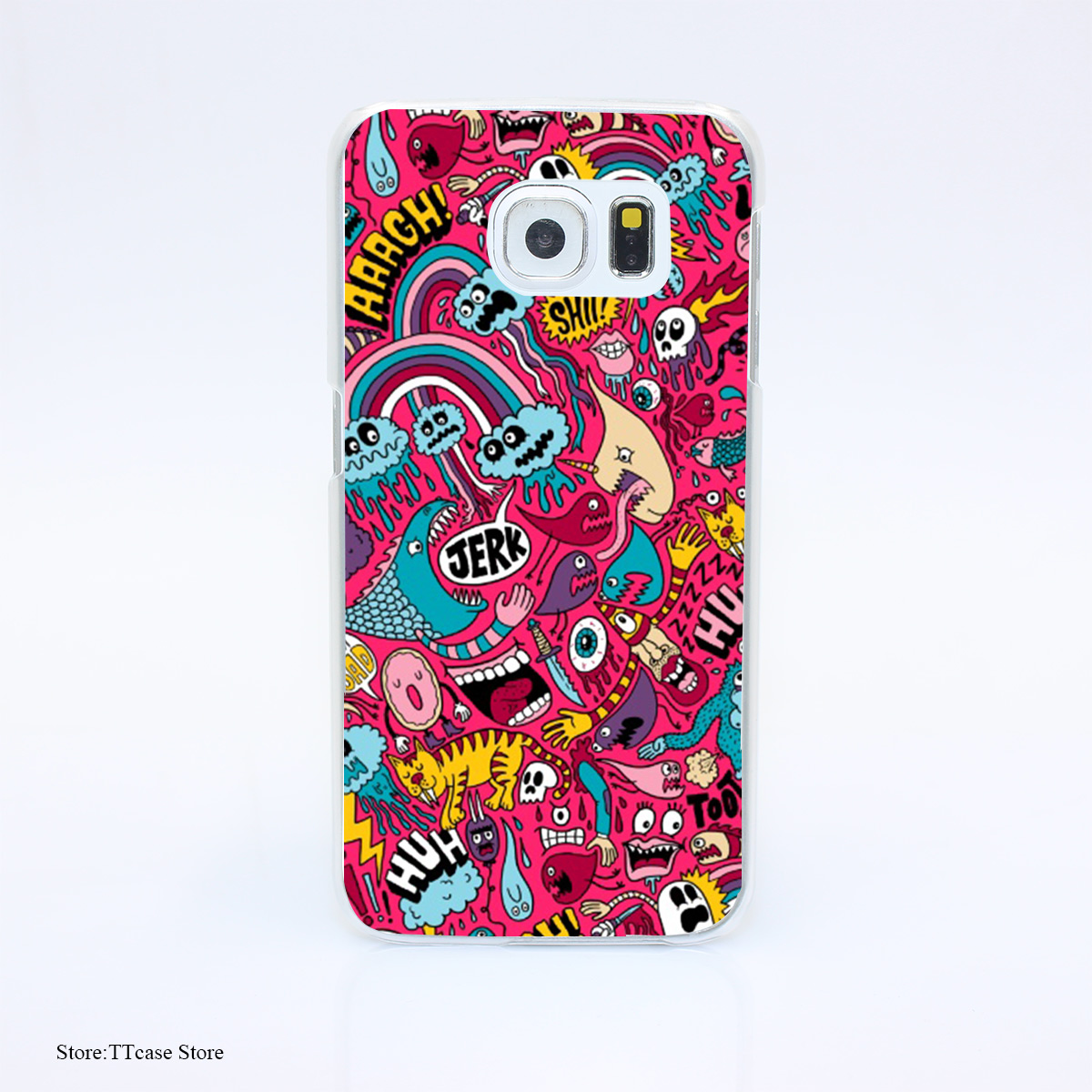 2878G Sad Donut Jerk Print Hard Transparent Case Cover for Galaxy S3 S4 S5 & Mini S6 S7 & edge