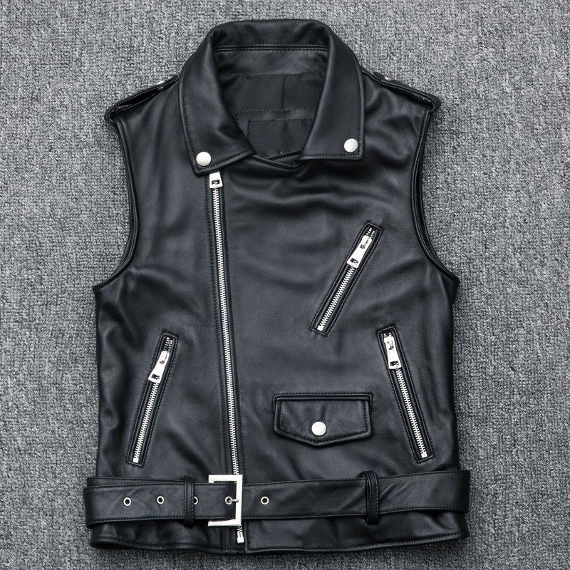 Fashion Women Motorcycle Biker Sheepskin Leather Waistcoat Zipper Short Punk Genuine Leather Vest Sleeveless Jacket Plus