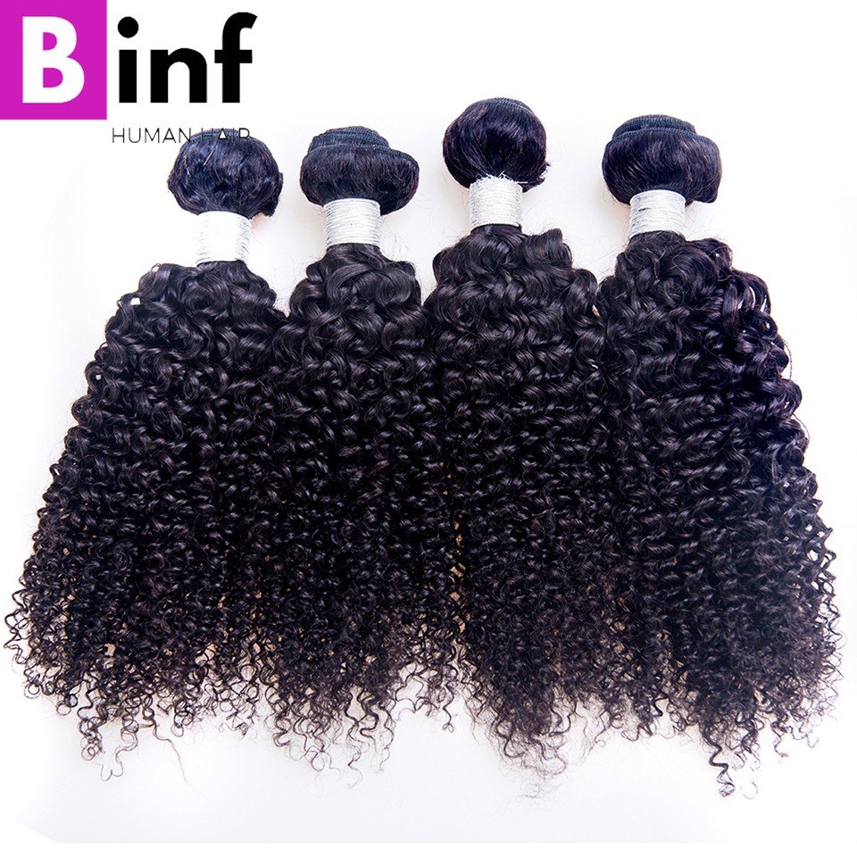 BINF Hair Brazilian Kinky Curly Non Remy Hair Weft 4 Bundles Deal Natural Color 100% Human Hair Weaving Free Shipping No Tangle