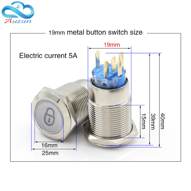 Metal push button switch 16mm19mm22mm self-reset multiple graphics can be customized total switch 12v 24v 110v 220v usb wifi
