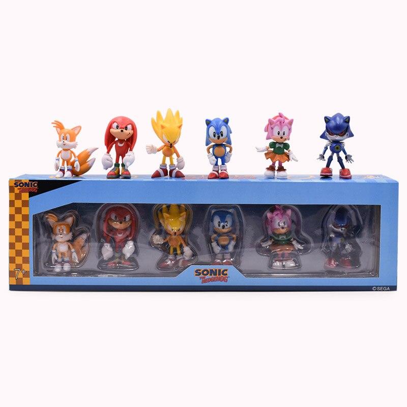 6 pièces/ensemble Anime 2nd génération Sonic queues Amy Rose Rouge jointures PVC Action figurine poupée modèle jouet cadeau de noël pour les enfants