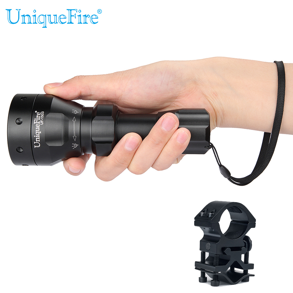 UniqueFire Cree XM-L2 Led Flashlight UF-1503 Zoom 5 Modes Aluminum Alloy White Light Lamp Torch+QQ07 Scope Mount For Remote Hunt 3800 lumens cree xm l t6 5 modes led tactical flashlight torch waterproof lamp torch hunting flash light lantern for camping z93
