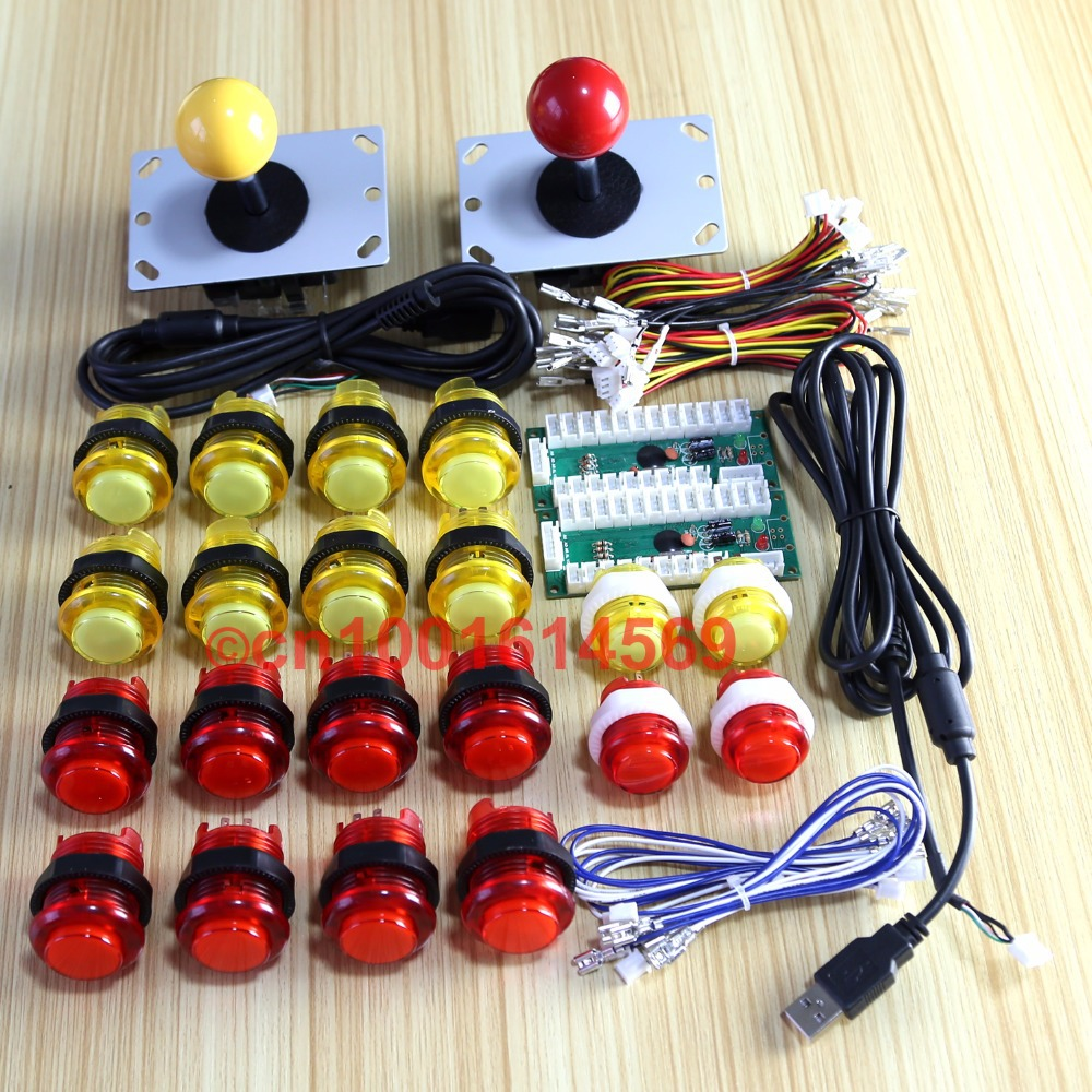 Arcade DIY Kits Parts USB Controllers To PC <font><b>Joystick</b></font> + 2 Pin Gamepads + 20 x <font><b>LED</b></font> Lamp Illuminated Push Buttons &#8211; Yellow + Red