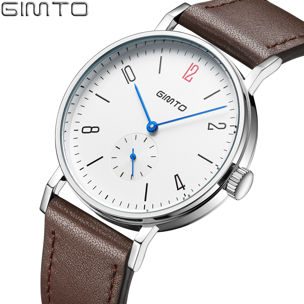 GIMTO Fashion Brand Sport Watch Men Leather Male Clock Military Men's Watch Waterproof Casual Quartz Wristwatches Relogio Montre excellent quality 2 rollers relax finger joints hand massager fingers massage tool random color