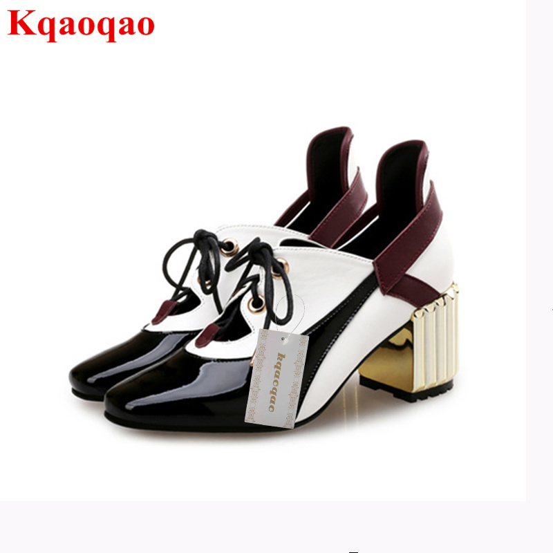 Luxury Brand Women Pumps Lace Up High Heel Shoes Black White Animal Pattern High Top Women Shoes Super Star Runway Street Shoes chic scoop collar totem pattern lace spliced tank top for women