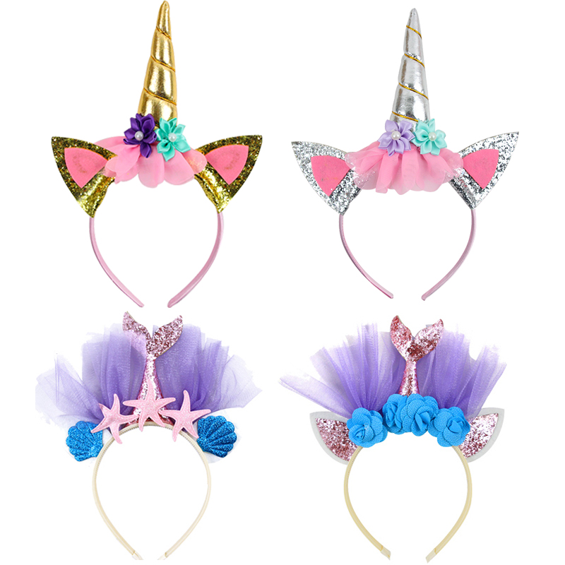 Party Decoration Headband Unicorn Horn Hairband Flower Hair Accessories Mermaid Unicorn Party Favors For Kids Birthday