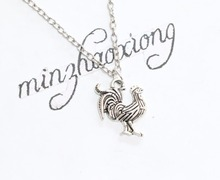 1pcs Big Cock Pendant Choker Collar Necklace Vintage Ancient Silver Chicken Charm Necklaces Jewelry