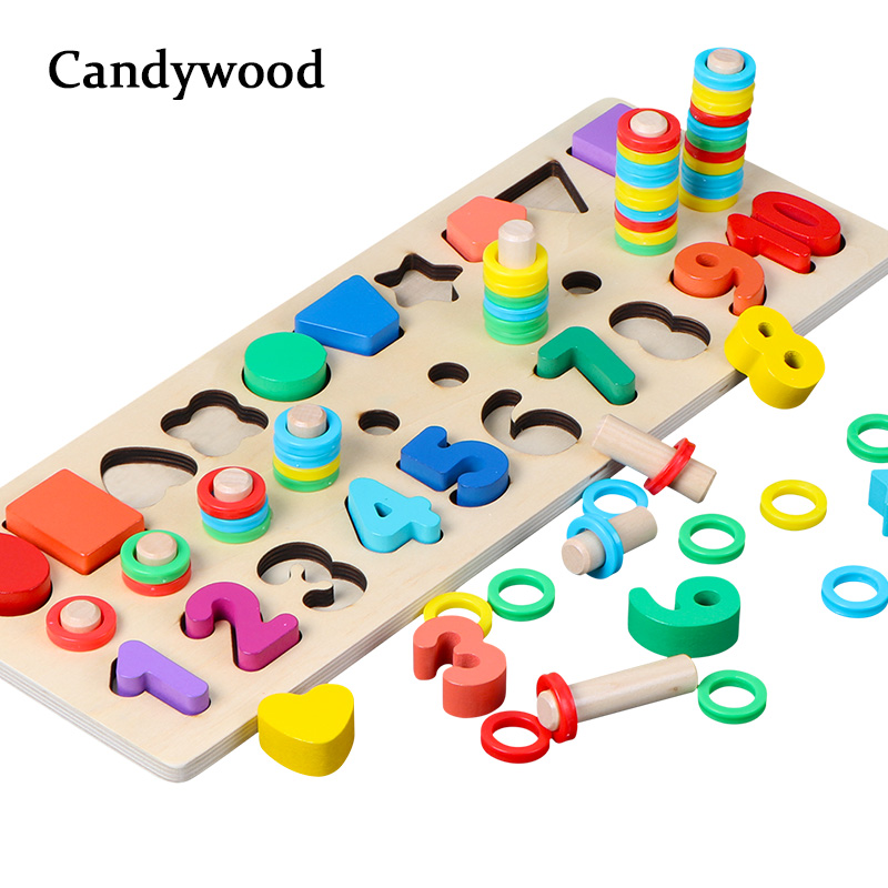 Montessori Math Toys 3 In 1 Digital Shape Pairing Rainbow Rings Preschool Counting Board Educational Wooden Toys for Children