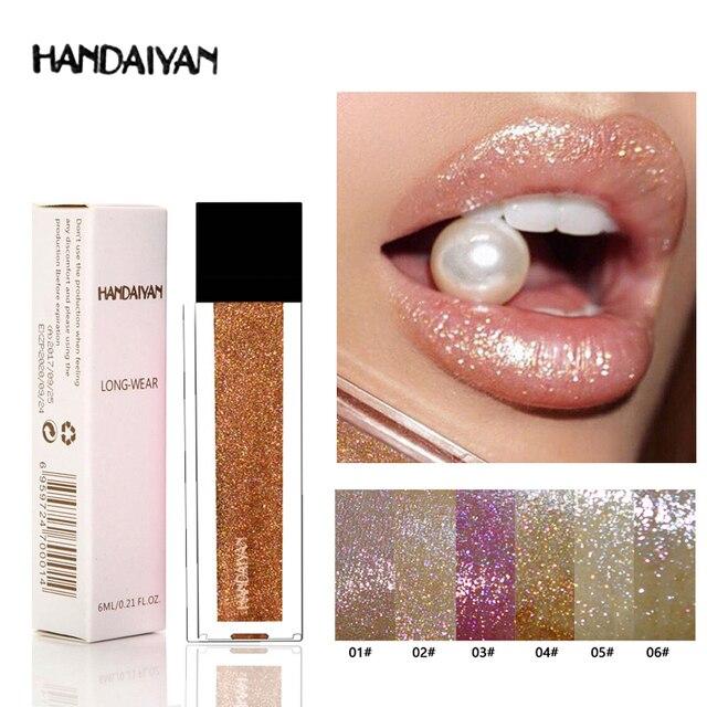 Nuevo maquillaje HANDAIYAN diamante brillante brillo de labios tinte larga impermeable duradera brillo terciopelo líquido lápiz labial mate belleza