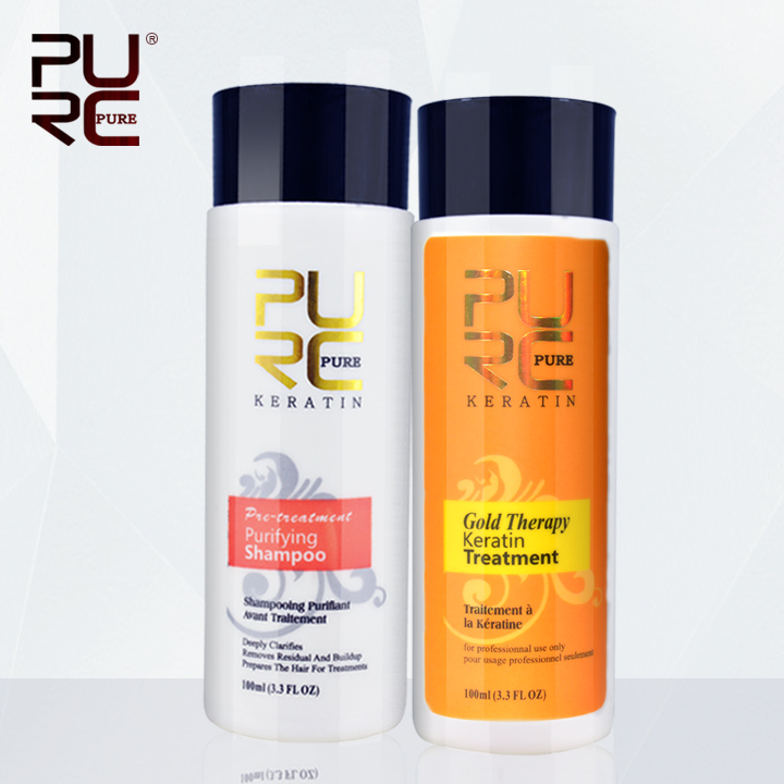 New product PURC Gold therapy keratin hair straightening advanced formula best hair care Green apple smell 100ml set pro p65 page 2