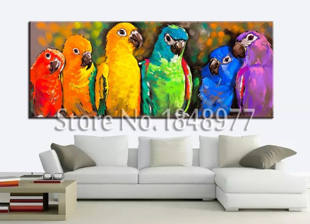 Große Moderne Leinwand wand kunst Malerei Bunter Papagei Haus ...