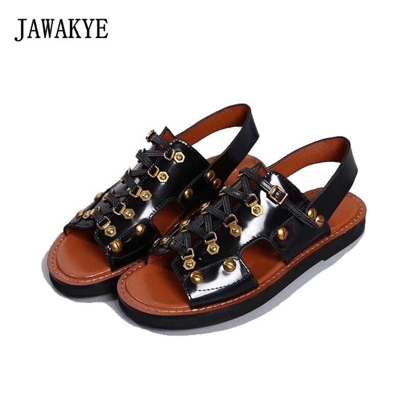 JAWAKYE New Peep toe Flat Women Sandals Cut outs Cross tied Genuine leather Buckle Strap Rome Summer Shoes Women Sandalias mujer