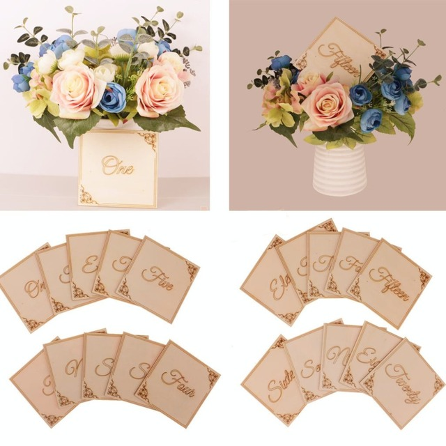 10pcs wooden wood lace table numbers signs wedding centerpiece decoration garden party bridal shower decoration diy