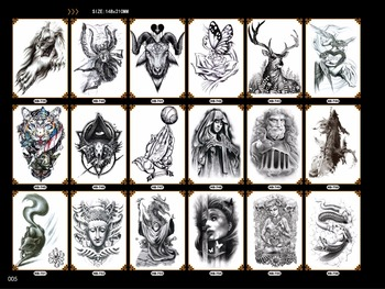 complete black halloween tattoos for unisex women men tiger snake eye cross pattern paper arm chest body stickers fake tattoo