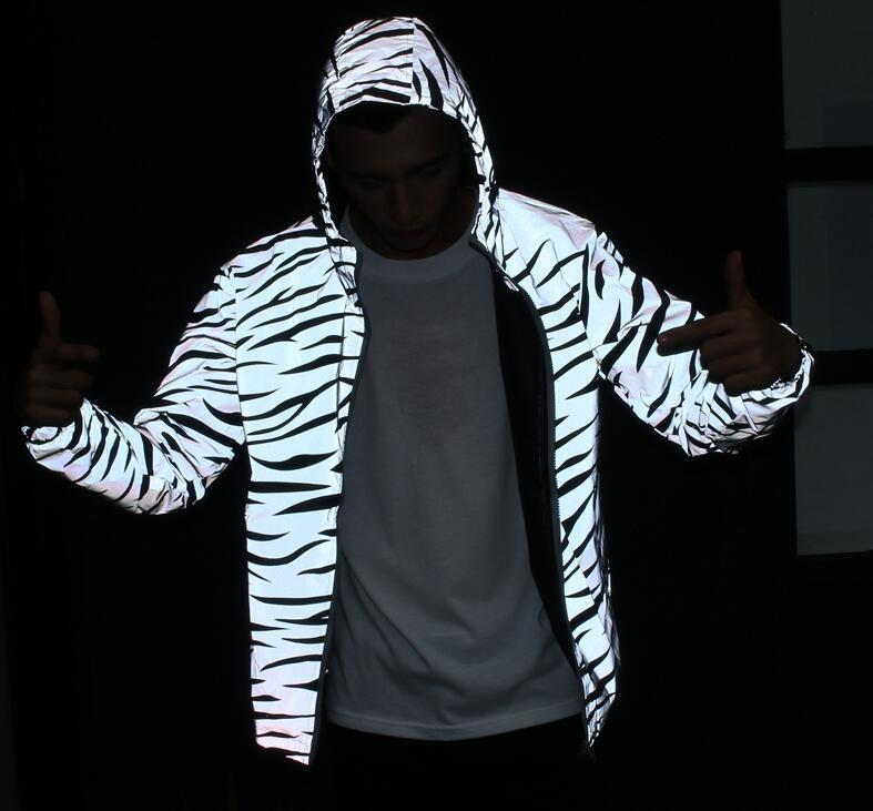 2018 3M Reflective Light Jacket Men Mesh Style Noctilucent Zebra Jackets Hip Hop Streetwear Skateboard Waterproof Coat Outwear