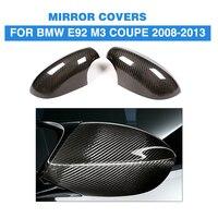 Добавить на Стиль сухой углерода зеркало заднего вида Заглушки для BMW 3 серии E92 M3 Coupe 2 двери 2008 2013