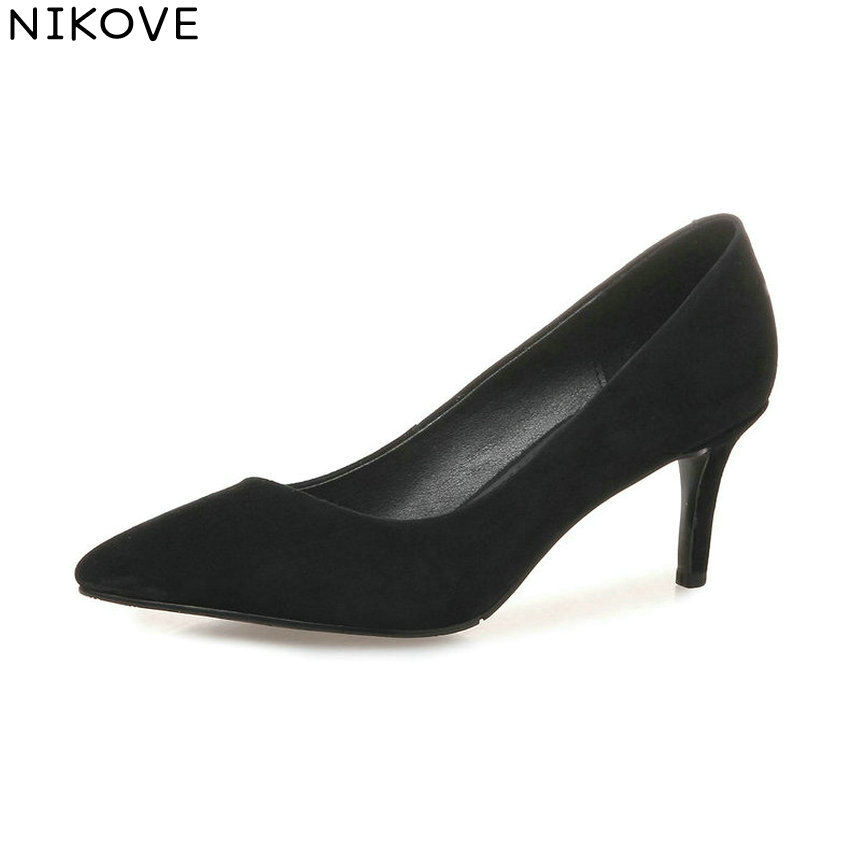 NIKOVE 2018 Women Pumps Elegant Shallow Shoes Slip on Thin High Heels Pointed Toe Kid Sued PU Slim Look Women Shoes Size 34-39 new pu printing leather sexy print pumps ladies elegant pointed toe thin high heels slip on shoes women shoes large size 33 48