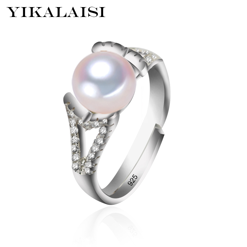 YIKALAISI 925 Sterling Silver Jewelry For Office Women 100% Natural Freshwater Pearl Jewelry 8-9mm Pearl Rings 2017 New Fashion
