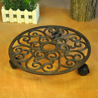 Cast Iron Pots Tray Balcony Round Mover with Wheels Brown Garden Pot Planter Rack Holder Floor Stands Shelf Patio Lawn Decor