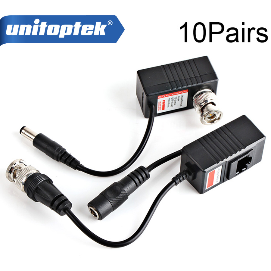 10Pairs Video Balun Transceiver BNC UTP RJ45 Video Balun and Power Over CAT5/5E/6 Cable for CVI/TVI/AHD 720P Camera UP TO 300m 1pairs high quality cctv via twisted pairs transmitter hd cvi tvi ahd passive video balun male cable bnc to utp cat5e 6