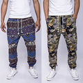 2016 Autumn Winter Men's Cotton Linen Drawstring Gecko Floral Print Narrow Feet Jogger Pants Men Vintage Hip Hop Sweatpants 21