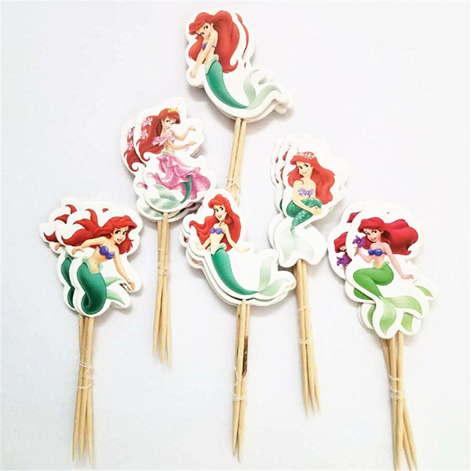 24pcs/lot Mermaid Girl Princess Cupcake Topper pick Theme Cartoon Kids Boy Birthday Party Supplies wedding cake flag Decorations