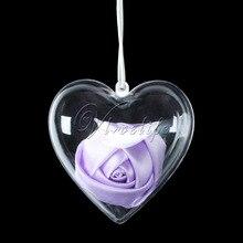Bauble Ornament Balls Christmas-Decoration Heart-Shape Plastic Wedding-Gift Transparent